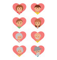 set of colored icons faces family members vector image