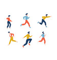set running men in casual clothes young male vector image