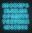 shining and glowing blue neon alphabet and digits vector image vector image