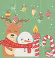 snowman and bear cande candy cane and balls vector image vector image