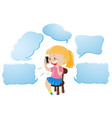 speech bubble template with girl talking on phone vector image vector image