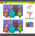spot the differences with cute owl birds vector image