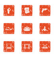 stadium construction icons set grunge style vector image