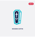 two color wooden coffin icon from desert concept vector image vector image