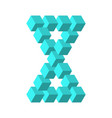 two connected impossible triangles in turquoise vector image vector image