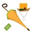 umbrella and hat vintage things sales logo vector image vector image