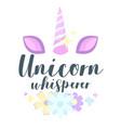 unicorn slogan for apparel design vector image vector image