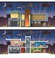 Modern house facade section night vector image