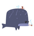 funny cartoon whale pirate smoking pipe colorful vector image