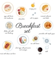 Big breakfast set isolated on white top view vector image
