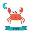Crab C letter Cute children animal alphabet in vector image