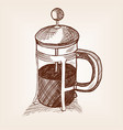 tea teapot with press sketch style vector image