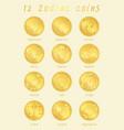 12 zodiac golden cions sign vector image