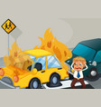 accident scene with two cars on fire vector image vector image