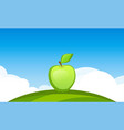 banner template with apple fruit in garden vector image vector image