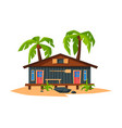 beach bungalow on coast sea or ocean summer vector image vector image