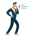 businessman with loudspeaker leader entrepreneur vector image