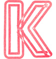 Capital letter K drawing with Red Marker vector image vector image