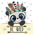 cartoon tribal panda with feathers vector image vector image