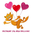 cat with valentine heart balloons vector image