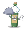 chef with food wine bottle character cartoon vector image
