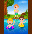 children swimming in the river vector image vector image