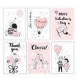 cute romantic card set vector image vector image
