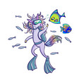 cute unicorn in a diving suit and fins swimming vector image