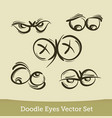 doodle eyes set isolated on white background vector image vector image