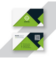 elegant green geometric business card design vector image vector image