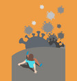 fear escaping from a virus covid-19 hand drawn vector image vector image