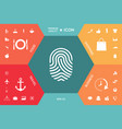 fingerprint scanned finger icon vector image