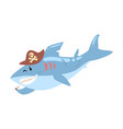 funny cartoon shark pirate in a hat smoking pipe vector image vector image