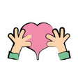 hands with heart to love symbol vector image vector image