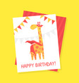 happy birthday card template with cute giraffe vector image vector image