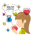 healthy woman eat apple to carry healthy lifestyle vector image vector image