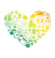 heart sport equipment silhouettes emblem vector image