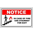 in case of fire use stairway for exit sign vector image vector image