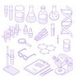 isometric laboratory icon set vector image