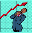 joyful african businessman growth chart vector image vector image