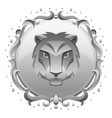 leo zodiac sign with silver frame horoscope vector image vector image