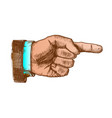 male hand pointer finger showing color gesture vector image