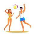 man and woman in swimwear play volleyball on beach vector image vector image