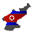 map of north korea with flag vector image vector image