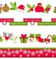 Merry Christmas seamless borders vector image
