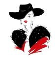 Modern girl sketch red lips fashionable hairstyle vector image vector image