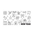 new year outline horizontal vector image