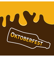 Oktoberfest Beer bottle and Flowing down alcohol vector image vector image