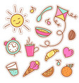 Quirky fashion patches set with food items