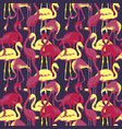 retro seamless pattern with tropical flamingo vector image